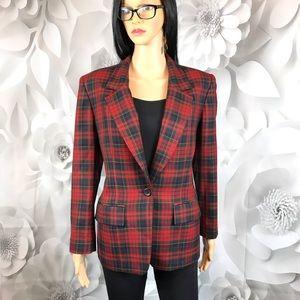 blazer Pendleton check plaid red green wool sz 6
